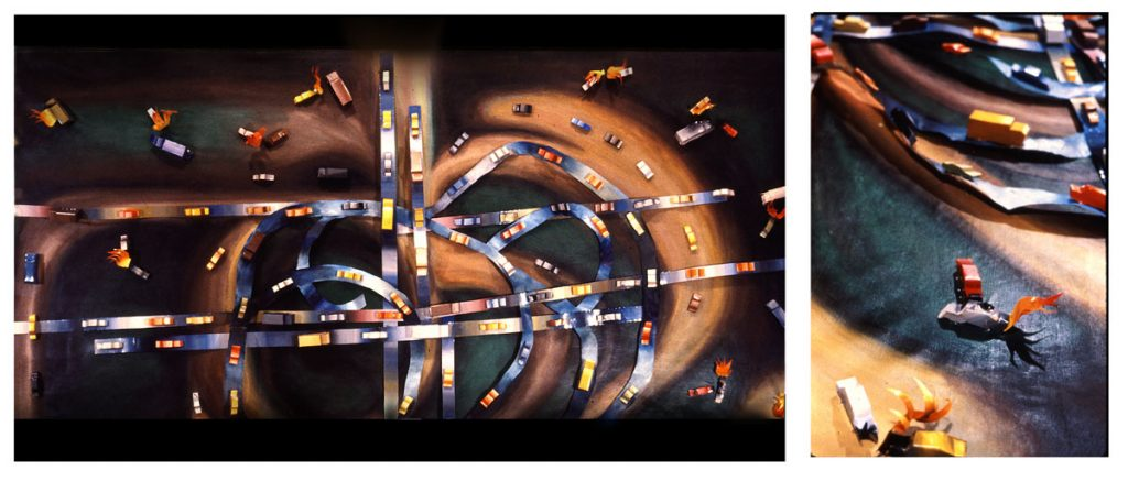 Fear of Driving, 1980. Acrylic on canvas, aluminium, enamel, celastic. 240 cm X 480 cm