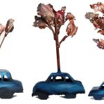 Car Tree, from Moment to Moment, 2012. Steel, copper, 32cm ht. Private collection