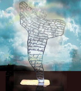 Angel Poetry, 2001. Steel, zinc, silver, 232 cm ht. Collection city of Ravenna