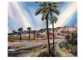 Palm Springs, 2020. Enamel on prepared paper, 30cm X 40cm