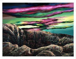 Canyon, 2020. Alkyd resin enamel on aluminium. 96cm X 125cm
